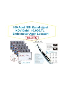 TRIDENT Apple   PORTATİF  ENDO MOTOR +APEX LOCATERLI     +100 ADET NITI EĞE 6 LI SET